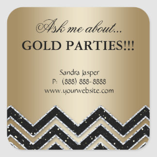 Gold Party Jewelry Sticker Chevron Glitter Black