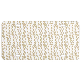 Gold Party Streamers on White Background License Plate