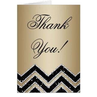 Gold Party Thank You Card Chevron Glitter Black
