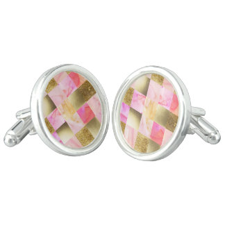gold,pastels,water colors,squares,collage,modern,t cuff links