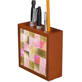 gold,pastels,water colors,squares,collage,modern,t desk organizer