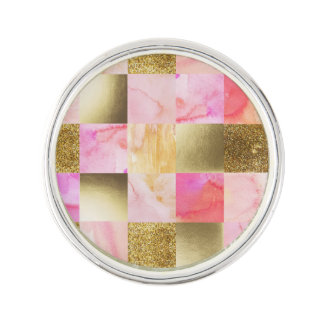 gold,pastels,water colors,squares,collage,modern,t lapel pin
