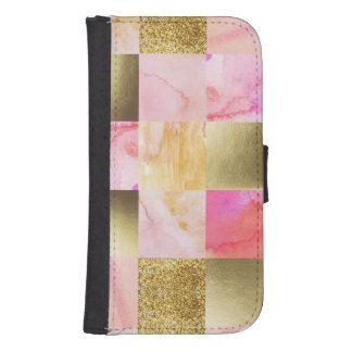 gold,pastels,water colors,squares,collage,modern,t samsung s4 wallet case