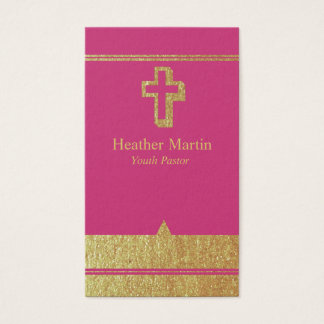 Gold Pastor Business Cards with Cross Hot Pink
