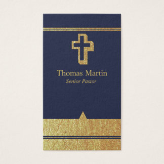 Gold Pastor Business Cards with Cross Navy Blue