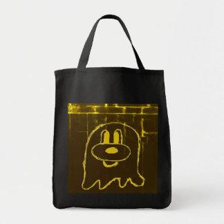Gold Pattern 鬼 鬼 Black Grocery Tote