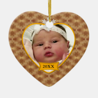 Gold Pattern Baby's Photo Christmas Ornament