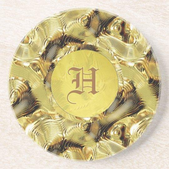 Gold Pattern Custom Monogramed Coaster