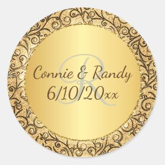Gold Pattern Monogram Wedding Sticker
