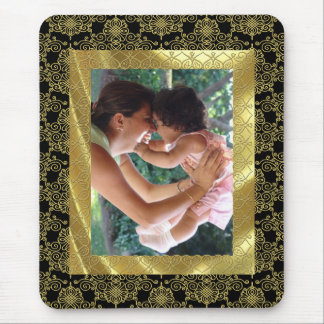 Gold Pattern Photo Frame Mouse Pad