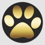 GOLD PAW PRINT ROUND STICKERS