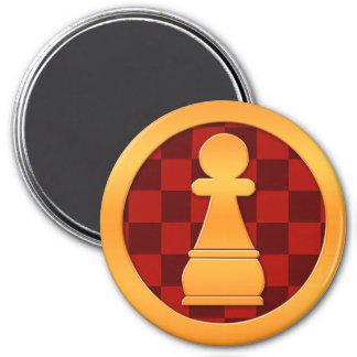 Gold Pawn Chess Piece 3 Inch Round Magnet