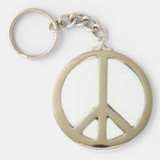 GOLD PEACE DESIGN BASIC ROUND BUTTON KEYCHAIN
