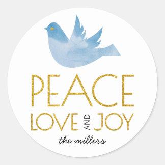 Gold Peace, Love, Joy blue dove Christmas Classic Round Sticker