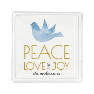 Gold Peace, Love, Joy watercolor dove Christmas Acrylic Tray