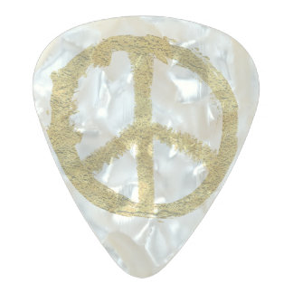 Gold Peace Pearl Celluloid Guitar Pick