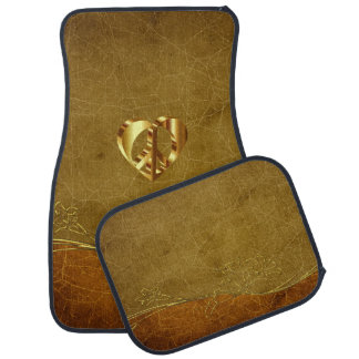 Gold Peace Sign With A Gold Heart Car Mat