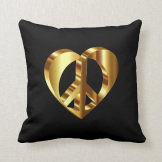 Gold Peace Sign With A Gold Heart Throw Pillow