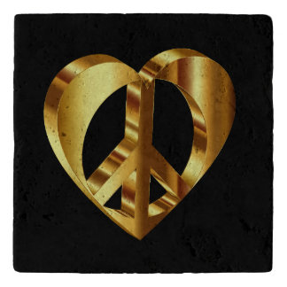 Gold Peace Sign With A Gold Heart Trivet