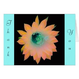 Gold Peach Aqua Floral Bloom Note Card