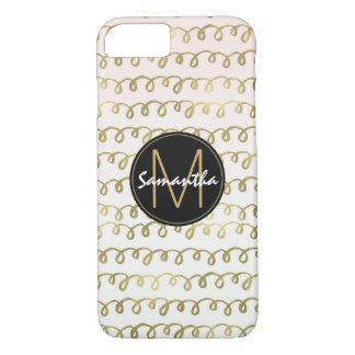 Gold Peach Squiggle Monogram iPhone 8/7 Case
