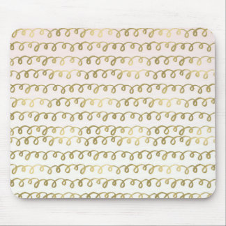 Gold Peach Squiggle Mouse Pad