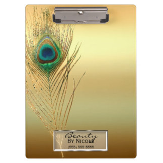 Gold Peacock Feather Elegant Glam Personalized Clipboard