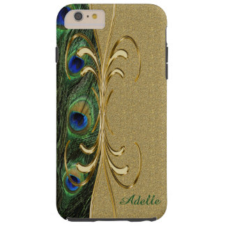 Gold Peacock Feather iPhone 6 Plus Monogram Case