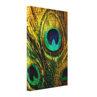 Gold Peacock Feather Pattern Canvas Print