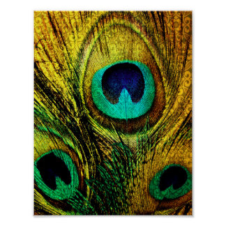 Gold Peacock Feather Pattern Poster