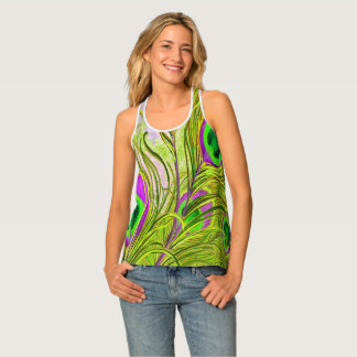 Gold Peacock Feathers All-Over-Print Tank Top
