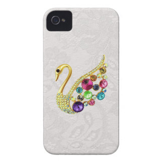 Gold Peacock & Jewels Paisley Lace Blackberry Bold iPhone 4 Case-Mate Case