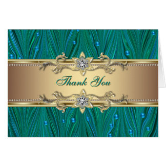 Gold Peacock Pearls Jade Teal Blule Thank You Card