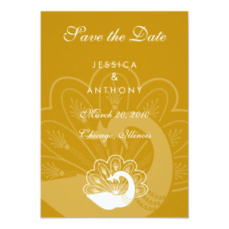 gold peacock save the date card