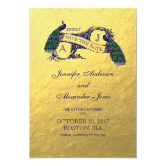 """Gold Peacock Save the Date Card 5"""" X 7"""" Invitation Card"""