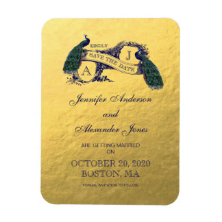 Gold Peacock Save the Date Rectangular Photo Magnet