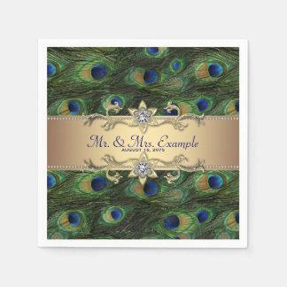 Gold Peacock Wedding Paper Napkin