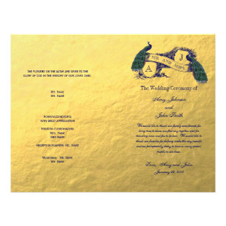 Gold Peacock Wedding Program Flyer Design