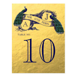 Gold Peacock Wedding Table Number Postcard