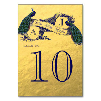 Gold Peacock Wedding Table Number Table Card