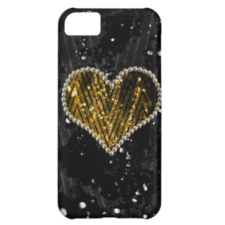 Gold Pearl Heart Case For iPhone 5C