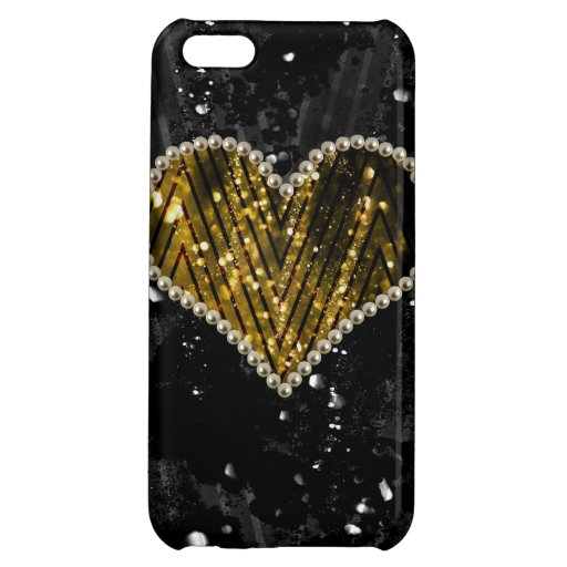 Gold Pearl Heart iPhone 5C Cases