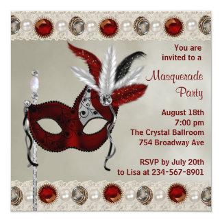 "Gold Pearl Red Masquerade Party 5.25"" Square Invitation Card"