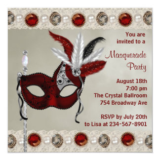 Gold Pearl Red Masquerade Party Card