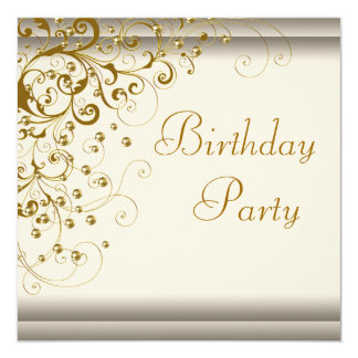 """Gold Pearl Swirl Womans Ivory Gold Birthday Party 5.25"""" Square Invitation Card"""