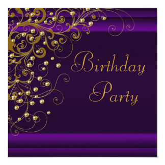 Gold Pearl Swirl Womans Purple Birthday Party Card