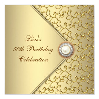 "Gold Pearl Womans 50th Birthday Party 5.25"" Square Invitation Card"