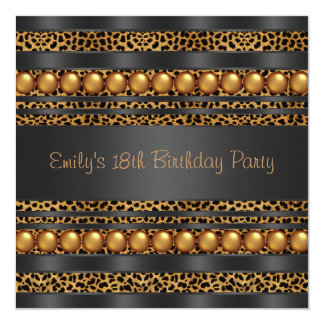 Gold Pearls Leopard Girls 18th Birthday Party Card