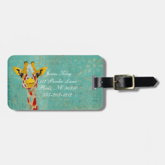 Gold Peeking Giraffe  Luggage Tag