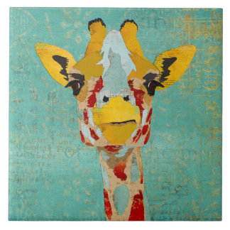 Gold Peeking Giraffe  Tile
